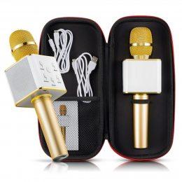 Портативный беспроводной микрофон караоке Q7 золото + чехол