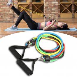 Набор трубчатых эспандеров для фитнеса упражнений и спорта 5 резиновых жгутов Power Resistance Bands
