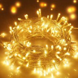 Уличная гирлянда нить 100 RGB LED 10 метров, желтая, белый провод