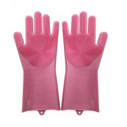 Силиконовые перчатки для мытья и чистки Magic Silicone Gloves с ворсом Пудровые