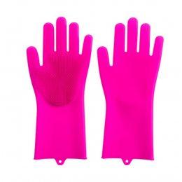 Силиконовые перчатки для мытья и чистки Magic Silicone Gloves с ворсом Малиновые