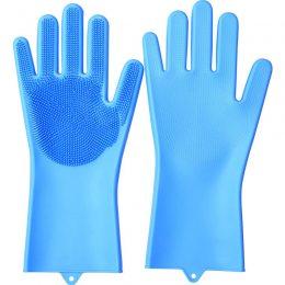 Силиконовые перчатки для мытья и чистки Magic Silicone Gloves с ворсом Голубые