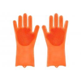 Силиконовые перчатки для мытья и чистки Magic Silicone Gloves с ворсом Оранжевые