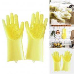 Силиконовые перчатки для мытья и чистки Magic Silicone Gloves с ворсом Желтые