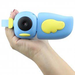 Детский фотоаппарат - видеокамера Kids Camera птичка Голубой