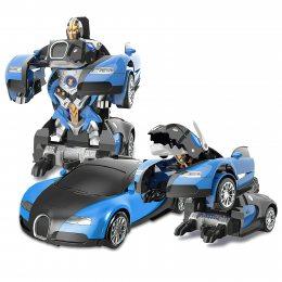 Машинка Трансформер Bugatti Robot Car Size 1:18 СИНЯЯ С ПУЛЬТОМ SIZE 18 (212)
