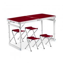 Усиленный стол для пикника раскладной с 4 стульями Easy Camping коричневый (206)