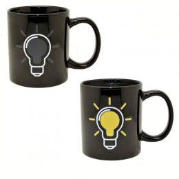 Керамическая, термо чашка хамелеон с лампочкой