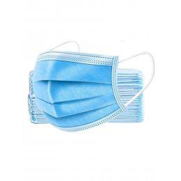 Медицинская защитная маска для лица 3-х слойная на резинках 50 шт.
