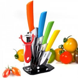 Набор керамических ножей, и овощечистка, цветной (575)
