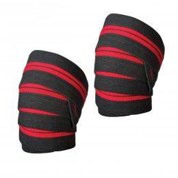 Бинт на колено силовой L.P., красно-черный  (S\H#5)(LP-0770W)