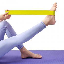 Ленточный эспандер (эластичная лента)  для фитнеса и йоги  104см PS FI-2435 Желтый (S\H#5)
