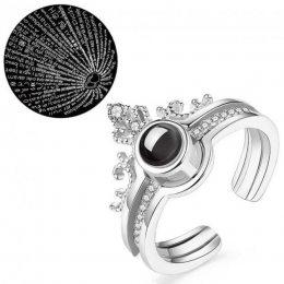 """Двухслойное кольцо женское корона с проекцией """"Я тебя люблю"""" на 100 языках мира серебристое (519)"""