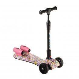 Детский самокат РАКЕТА Розовый цветок, складной руль, турбина, музыка, колеса 110мм светятся (212)