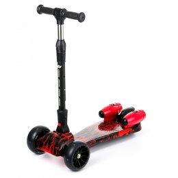 Детский самокат РАКЕТА Красный огонь, складной руль, турбина, музыка, колеса 110мм светятся (212)