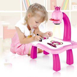 Детский стол-проектор для рисования со светодиодной подсветкой, розовый (219)