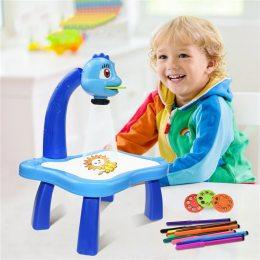 Детский стол-проектор для рисования со светодиодной подсветкой, синий (219)