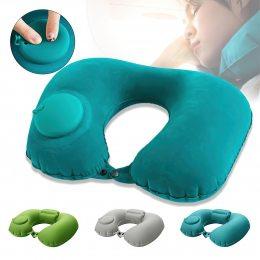 Дорожная надувная подушка для шеи со встроенной помпой ROMIX