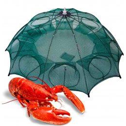 Рыболовная верша для раков, сачок зонт для раков, рачница приманка 8 входов