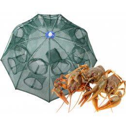 Рыболовная верша для раков, сачок зонт для раков, рачница приманка 12 входов