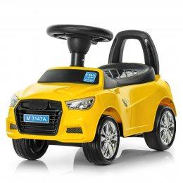 Каталка-толокар, машина для ребенка от 1 года, Bambi M 3147A-6 Audi с музыкой, желтый