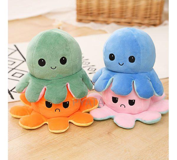 Мягкая игрушка осьминог перевертыш, двусторонний осьминог настроение 2 в 1