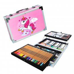 Премиум Набор для рисования и творчества в кейсе Единорог 144 предмета розовый