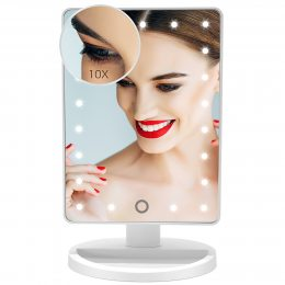 Зеркало с LED подсветкой прямоугольное (22 LED) (w-5), Настольное зеркало для макияжа