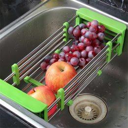 Многофункциональная складная кухонная полка для посуды Kitchen Drain Shelf Rack Зеленая